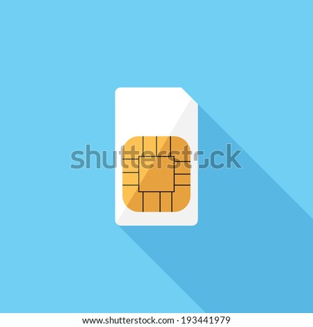 Sim card icon. Flat design style modern vector illustration. Isolated on stylish color background. Flat long shadow icon. Elements in flat design. - stock vector