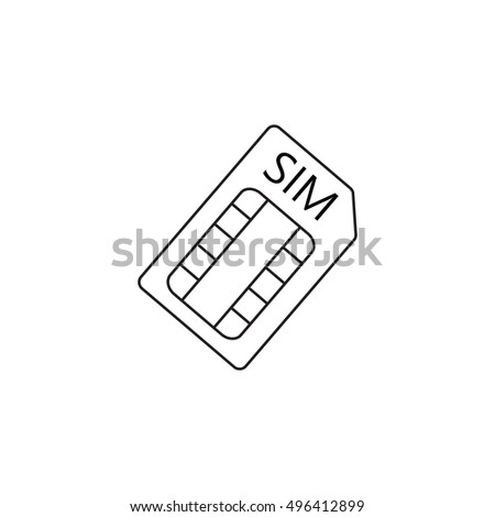 sim card line icon, outline vector logo illustration, linear pictogram isolated on white