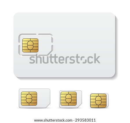 Sim card object realistic vector icon