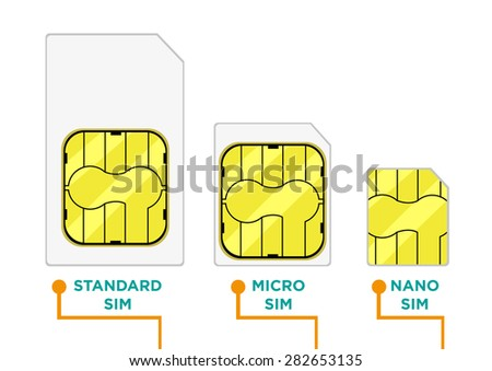 SIM Card or Subscriber Identity Module card in different sizes. Editable Isolated on White Background Clip art. - stock vector