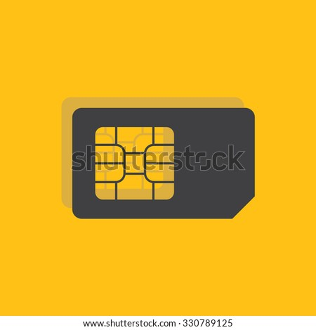 Sim card sign icon, vector illustration. Sim card symbol. Flat icon. Flat design style for web and mobile. - stock vector