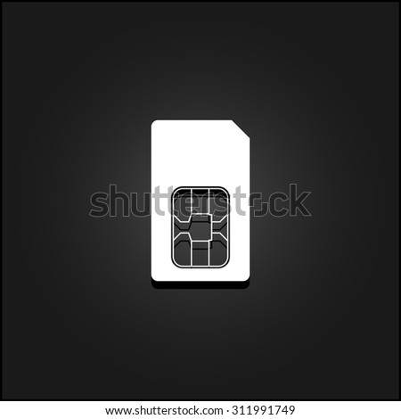 Sim card. White flat simple vector icon with shadow on a black background - stock vector