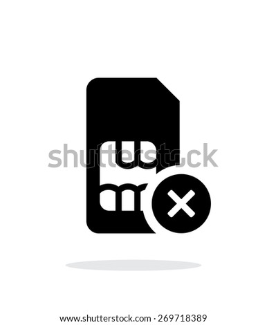 SIM card with cancel sign simple icon on white background. Vector illustration. - stock vector