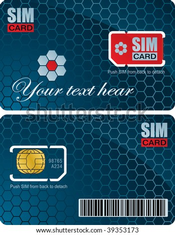 Sim card with carrier vector template - stock vector