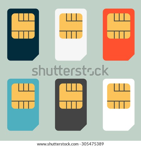 SIM cards for mobile phones. Mobile and wireless communication technologies. Network chip electronic connection - stock vector