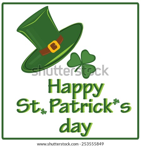 Simbols of patricks day - green clover and hat in frame - stock vector