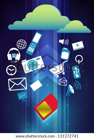 simcard up load cloud computing concept