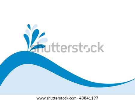 simple abstract backdrop with blue waves and drops - stock vector