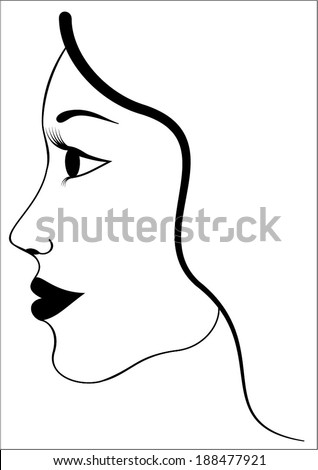 Simple abstract beauty woman head - face and hair silhouette, isolated on white background. simple black and white outline graphic design, vector art image illustration - stock vector
