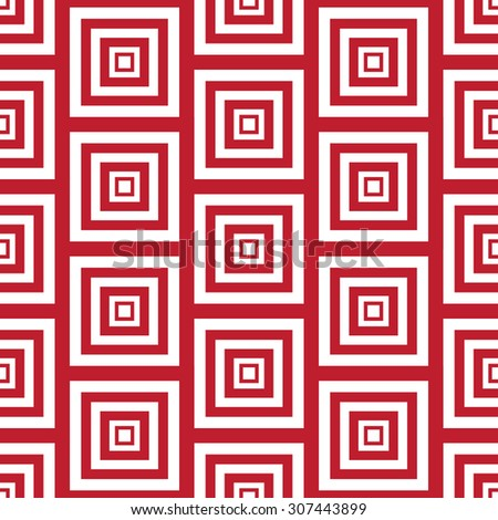 Simple Abstract Seamless Pattern of Repeating Red and White Squares, Vector Illustration EPS10 - stock vector
