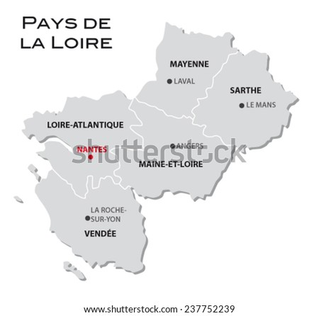 simple administrative map of pays de la loire