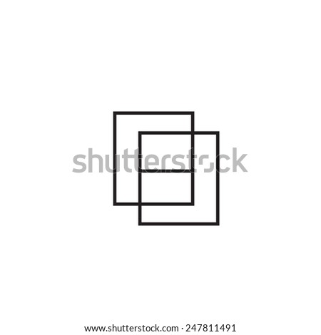 Simple and abstract geometric letter H made of two squares - stock vector