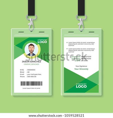simple clean green id card designのベクター画像素材 1059528521