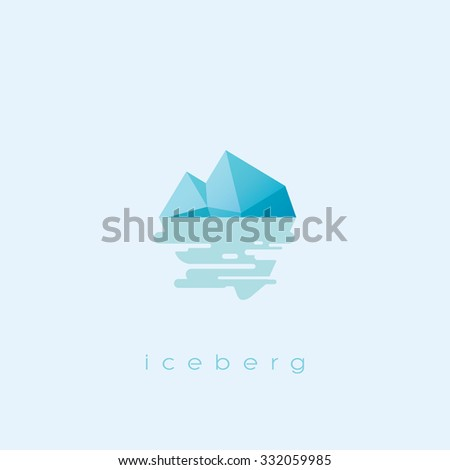 Simple and clean iceberg icon. Risk business symbol with sea reflection. Eps10 vector illustration. - stock vector