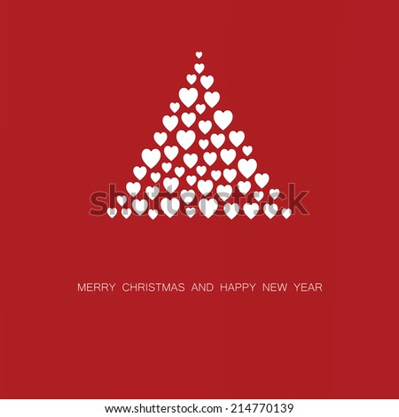 Simple and cute Christmas card with abstract Christmas tree