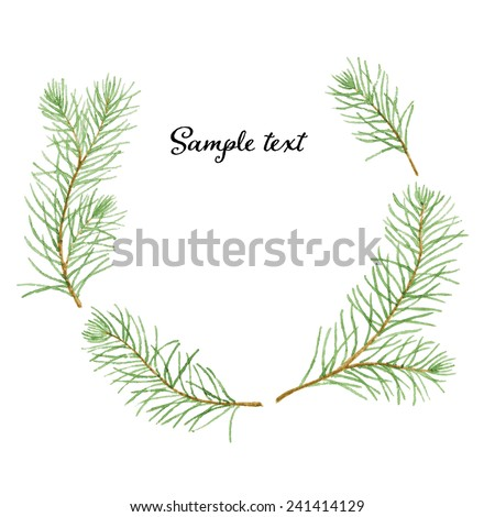 Simple and cute pine branches wreath. Vectorized watercolor drawing. - stock vector