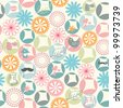 Simple and cute rounds motif seamless pattern - stock vector