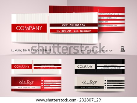 Simple and elegant mini business card design - stock vector