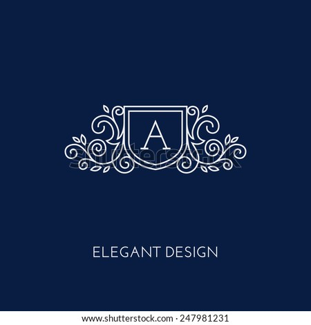Simple and elegant monogram design template with letter A. Vector illustration. - stock vector