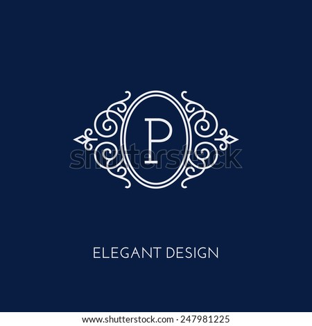 Simple and elegant monogram design template with letter P. Vector illustration. - stock vector