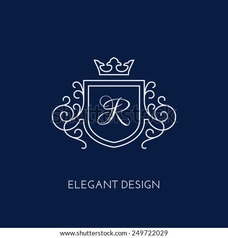 Simple and elegant monogram design template with letter R and crown. Vector illustration. - stock vector