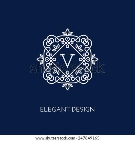 Simple and elegant monogram design template with letter V. Vector illustration. - stock vector