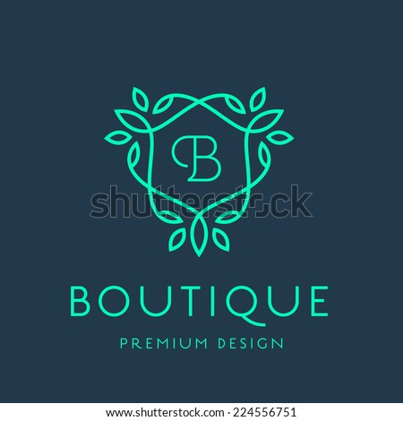 Simple and graceful floral monogram design template, Elegant lineart logo design, vector illustration - stock vector