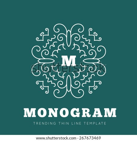 Simple and graceful monogram design template - stock vector