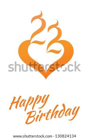 simple stylish 22 birthday card look stock vector 130824134