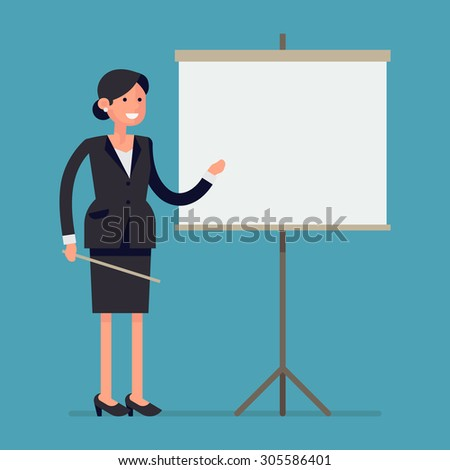 Simple and trendy vector concept design on female office worker giving presentation | Friendly business woman standing next to blank presentation screen holding pointer and smiling - stock vector