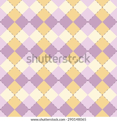Simple argyle pattern with yellow and lilac colors. Vector background. - stock vector