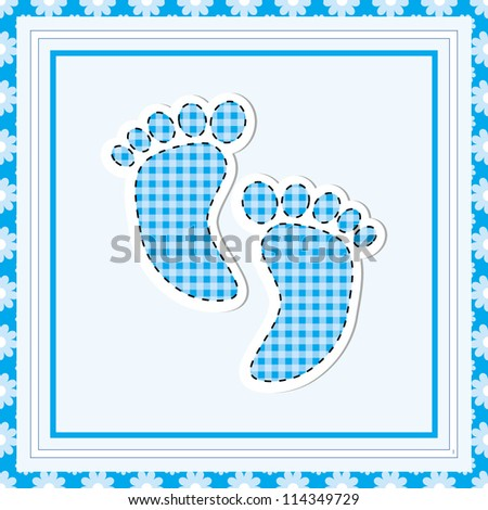 Simple baby arrival card with footprint/Vector illustration