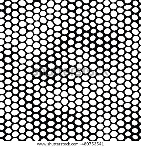 Simple background vector pattern hand drawn dots in black and white color