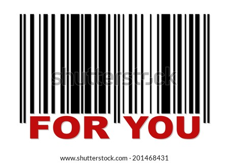Simple barcode with red label FOR YOU - stock vector