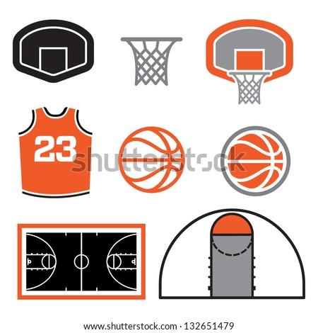 Simple Basketball Vector Elements - stock vector