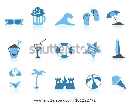 simple beach icon blue series - stock vector