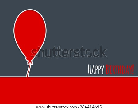 Simple birthday card design with red balloon - stock vector