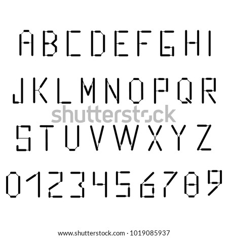 Simple Black Alphabet In The Style Of Postal Font English French Or Portuguese