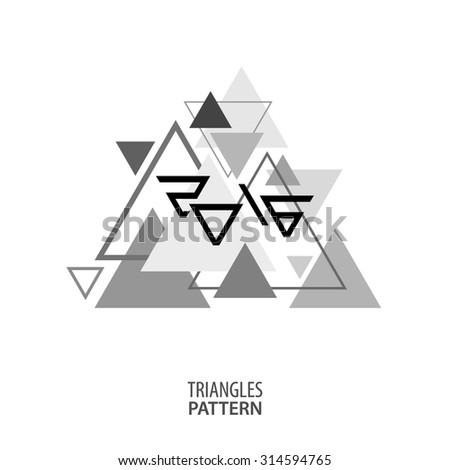 Simple black and white geometric pattern of triangles with a stylized inscription 2016. Vector - stock vector