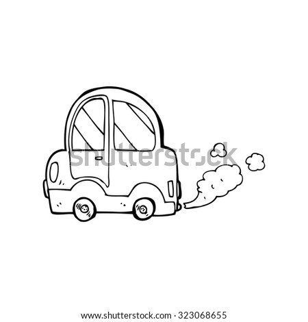 simple black and white line drawing cartoon  car - stock vector