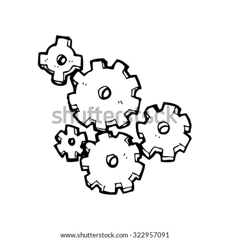 simple black and white line drawing cartoon  cogs and gears - stock vector