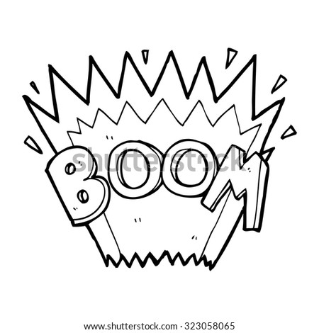 simple black and white line drawing cartoon  comic book explosion - stock vector