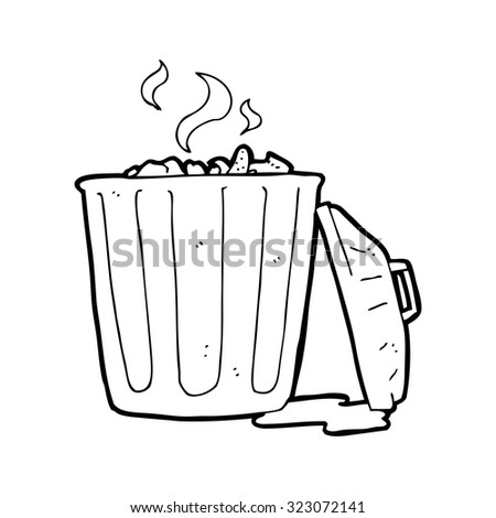 simple black and white line drawing cartoon  garbage can - stock vector