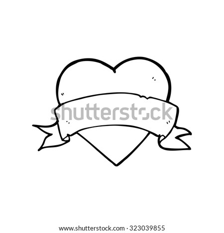 simple black and white line drawing cartoon  heart tattoo - stock vector