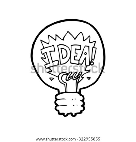simple black and white line drawing cartoon  idea light bulb symbol - stock vector