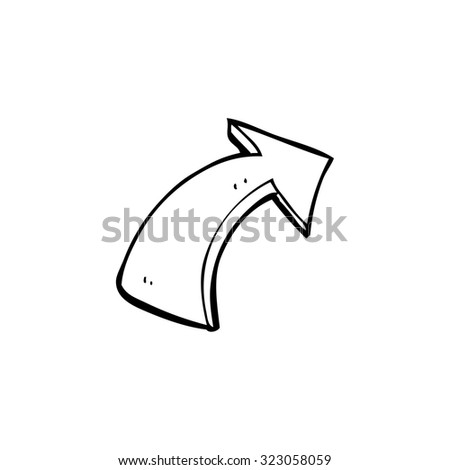 simple black and white line drawing cartoon  pointing arrows - stock vector