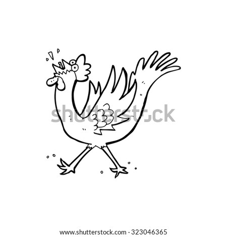 simple black and white line drawing cartoon  rooster - stock vector