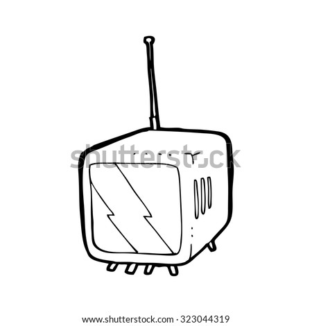 simple black and white line drawing cartoon  television - stock vector