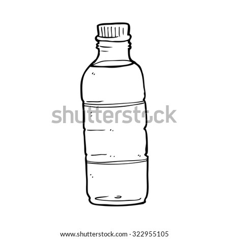 simple black and white line drawing cartoon  water bottle - stock vector