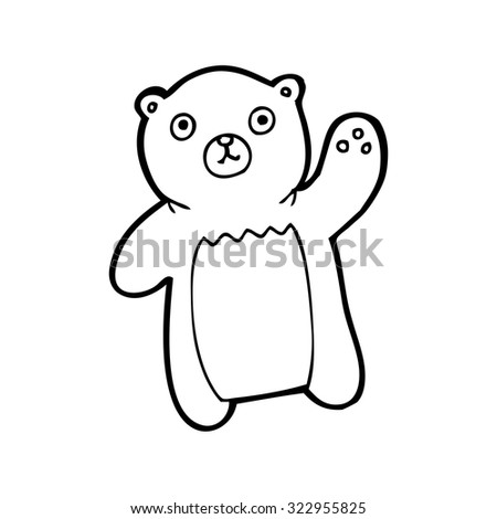 simple black and white line drawing cartoon  waving bear